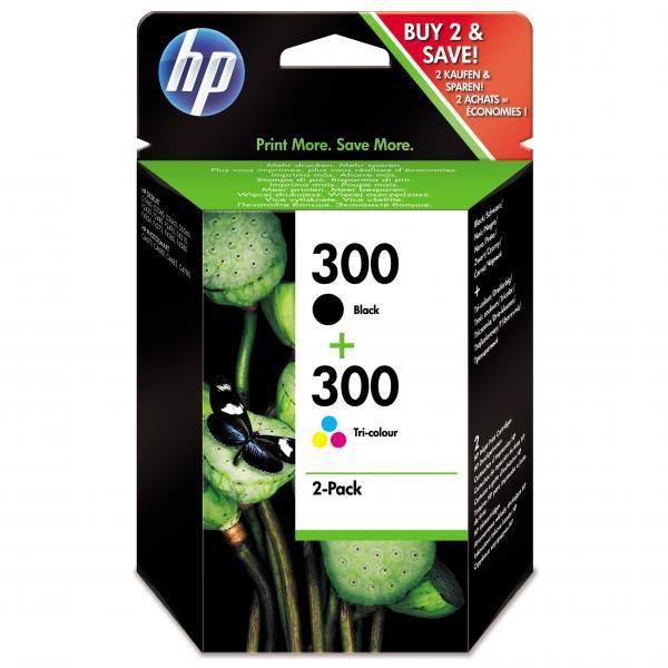 HP CN637EE - originální cartridge HP 300, černá + barevná, 2x4ml