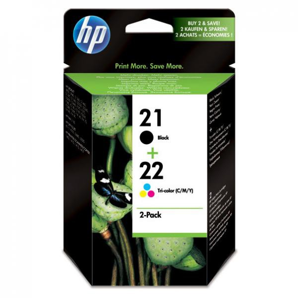HP originální ink SD367AE, No.21 + No.22, black/color, 190/165str., 2ks, HP 2-Pack, C9351AE + C9352AE