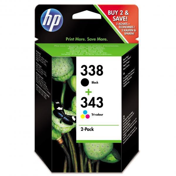 HP originální ink SD449EE, No.338 + No.343, black/color, 480/330str., 2ks, HP 2-Pack, C8765EE + C8766EE