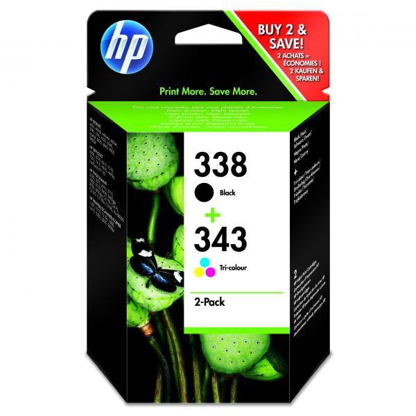 HP originální ink blistr, SD449EE#231, No.338 + No.343, black/color, 480/330str., 2ks, HP 2-Pack, C8765EE + C8766EE