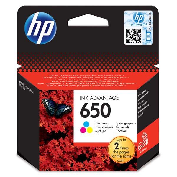 HP originální ink CZ102AE, HP 650, color, blistr, 200str., HP Deskjet Ink Advantage 2515 AiO, 3515 e-Ai0, 3545