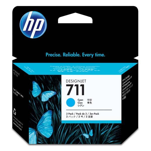 HP originální ink CZ134A, No.711, cyan, 3x29ml, 3ks, HP DesignJet T120, T520