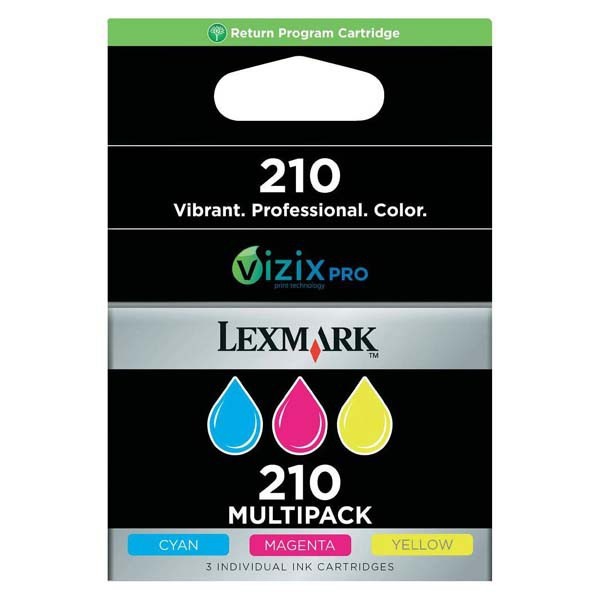 Lexmark originální ink 14L0268E, #210, cyan/magenta/yellow, return, 3x500str., 3ks, Lexmark OfficeEdge Pro5500, Pro5500t, Pro4000