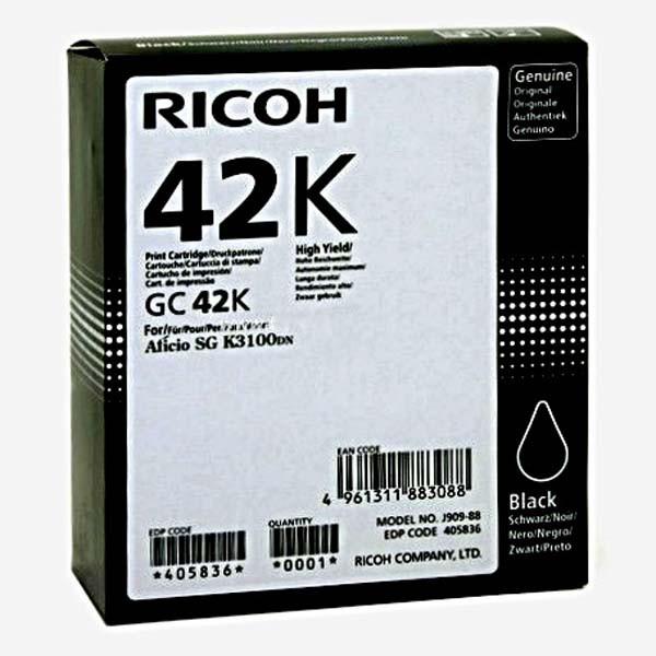 Ricoh originální gelová náplň 405836, black, 10000str., GC 42K, Ricoh SG K3100DN, Aficio SG K3100DN