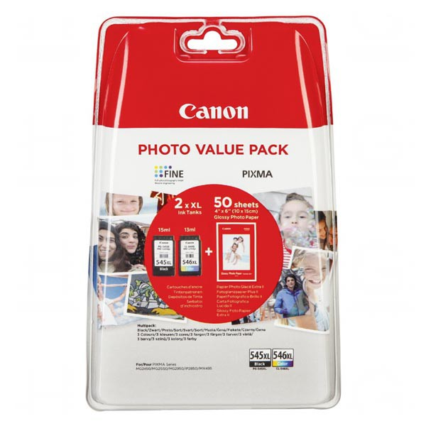 Canon originální ink PG-545 XL/CL-546 XL + 50x GP-501, black/color, 8286B006, Canon Pixma MG2450, 2555, MX495, Promo pack