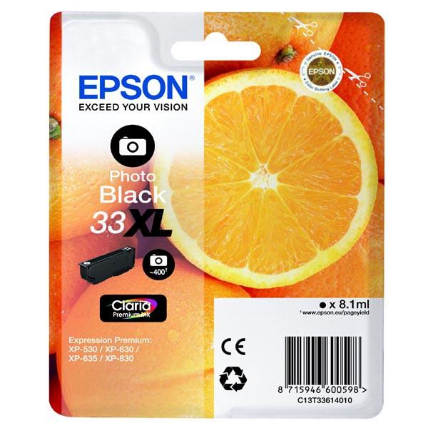 Epson originální ink C13T33614010, T33XL, photo black, 8,1ml, Epson Expression Home a Premium XP-530,630,635,830