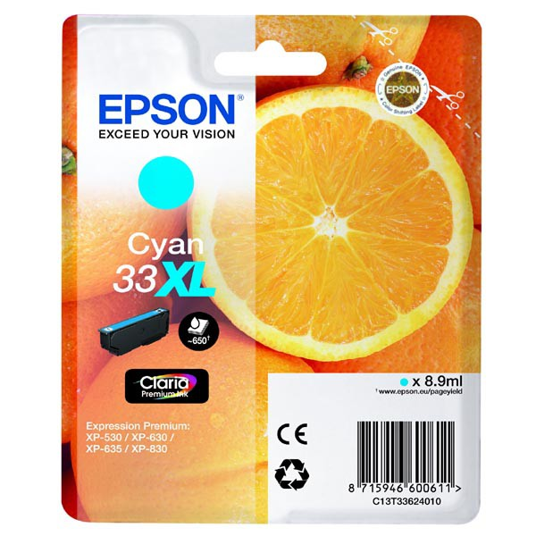 Epson originální ink C13T33624010, T33XL, cyan, 8,9ml, Epson Expression Home a Premium XP-530,630,635,830
