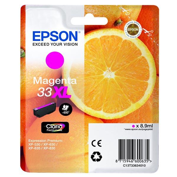 Epson originální ink C13T33634010, T33XL, magenta, 8,9ml, Epson Expression Home a Premium XP-530,630,635,830