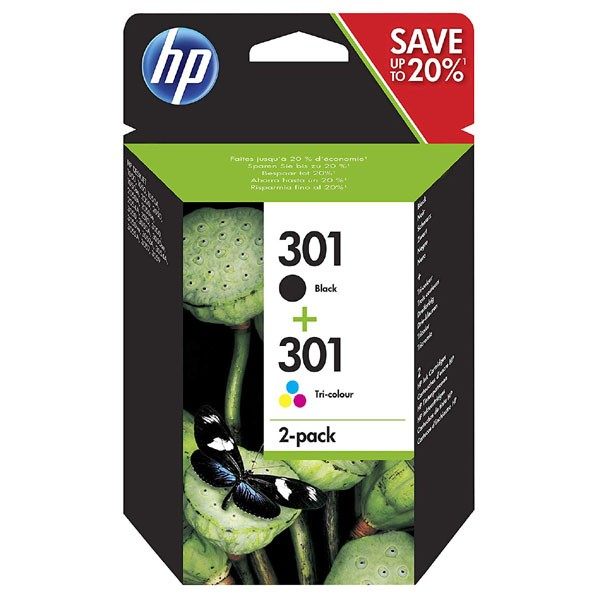 HP N9J72AE - originální cartridge HP 301, černá + barevná, 3ml/6ml