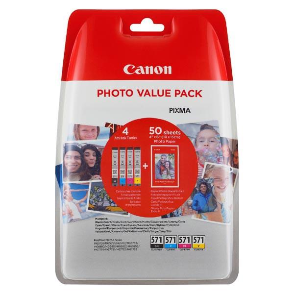 Canon originální ink 0332C005, cmyk, CLI-571XL C/M/Y/BK + 50x PP-201, Canon Pixma MG6850,MG6851,MG6852,MG6853,MG7750, MG5750