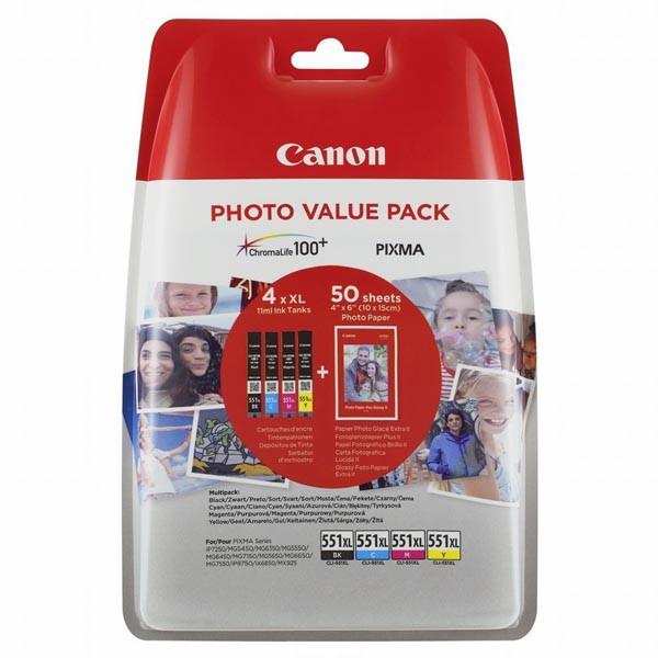 Canon originální ink 6443B006, CLI-551XL C/M/Y/BK Photo Value Pack, CMYK, blistr, Canon Pixma iP7250,iP8750,iX6850,MG5450,MG5550,M