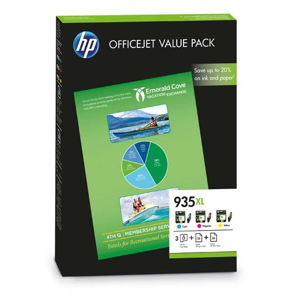 HP originální ink F6U78AE, HP 935XL, cyan/magenta/yellow, HP Officejet 6815, Officejet Pro 6230 ePrinter, 6830