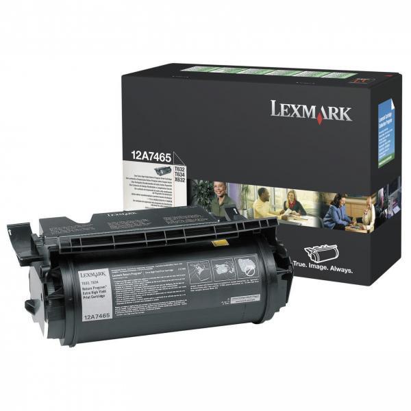 Lexmark originální toner 12A7465, black, 32000str., return, Lexmark T632, T634