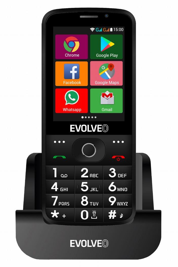 EVOLVEO EasyPhone AD, chytrý mobilní telefon pro seniory s nabíjecím stojánkem (černá barva)