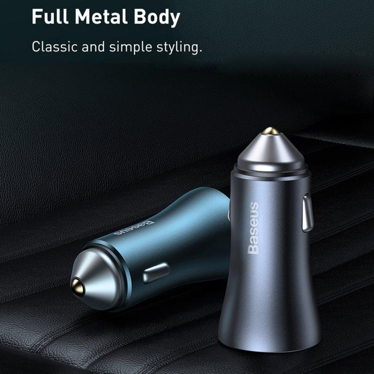 Baseus Golden Contactor duální adaptér do automobilu USB-A QC + USB-C 40W, šedá