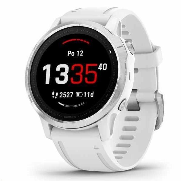 Garmin GPS sportovní hodinky fenix6S Glass, Silver/White Band