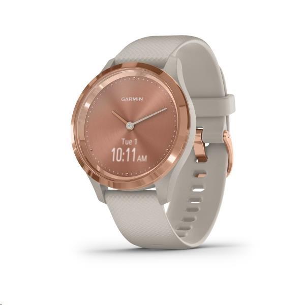 Garmin monitorovací náramek a hodinky vivomove3S Sport, RoseGold/Sand Band