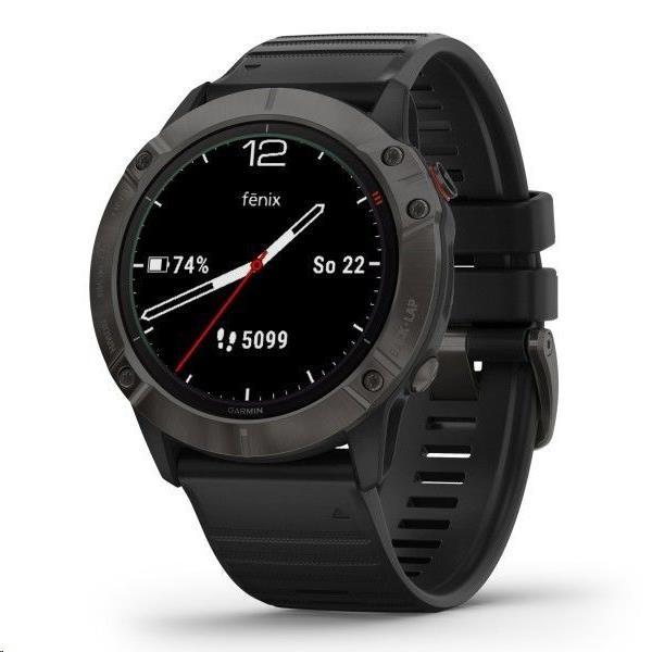 Garmin GPS sportovní hodinky fenix6X Sapphire, GrayDLC/Black Band (MAP/Music)