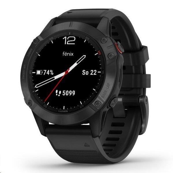Garmin GPS sportovní hodinky fenix6 Glass, Black/Black Band (MAP/Music)