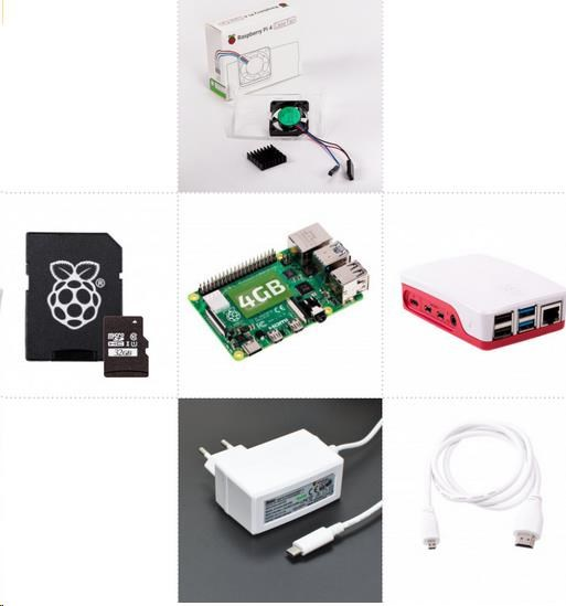 Levně Raspberry Sada Zonepi Raspberry Pi 4, 4GB RAM, 32GB karta, oficiální krabička, bílá